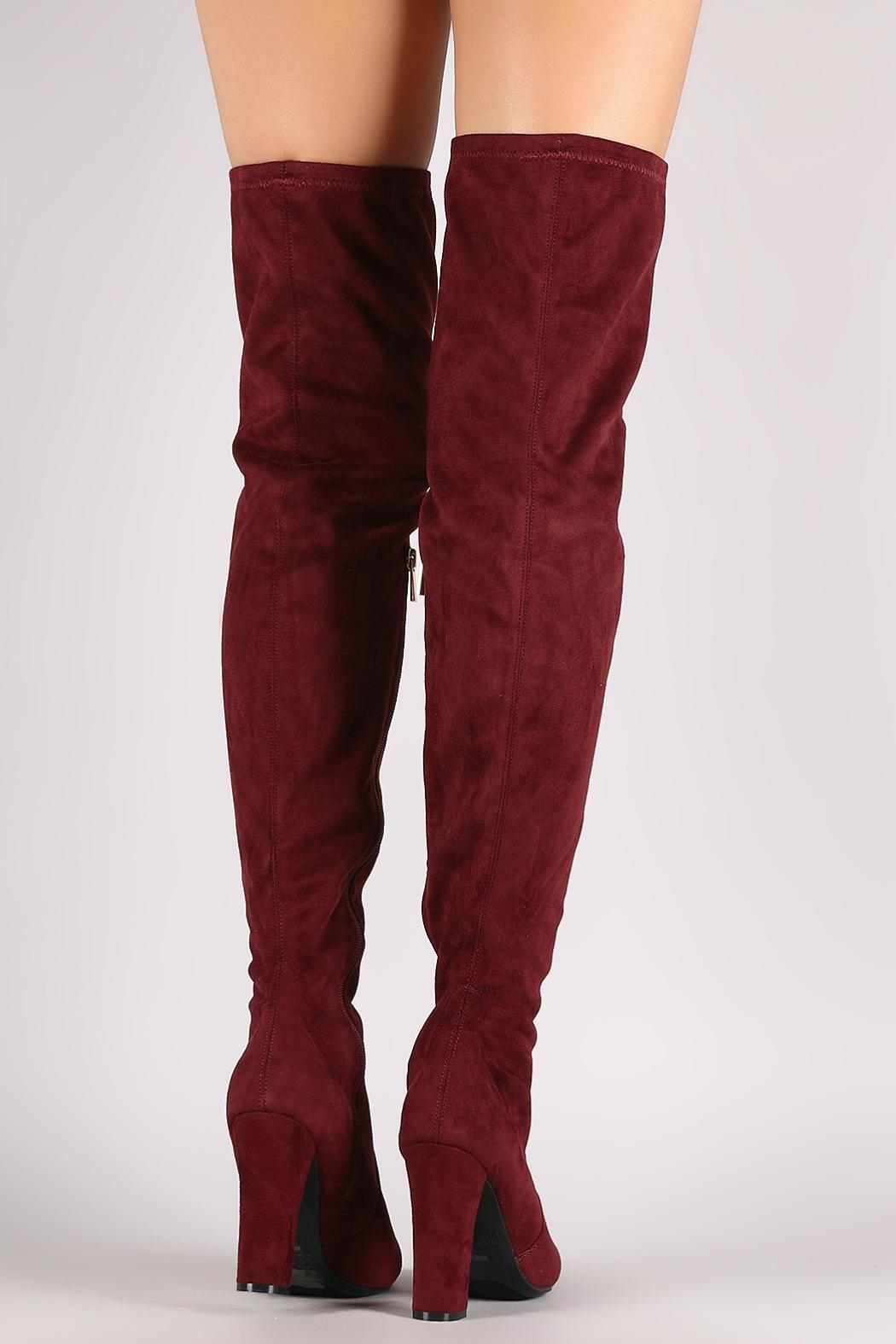 Bamboo Burgundy Over-The-Knee Boots - Front Full Image
