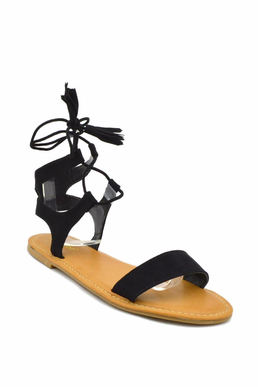 Bamboo Corset Lace-Up Sandal - Front Full Image