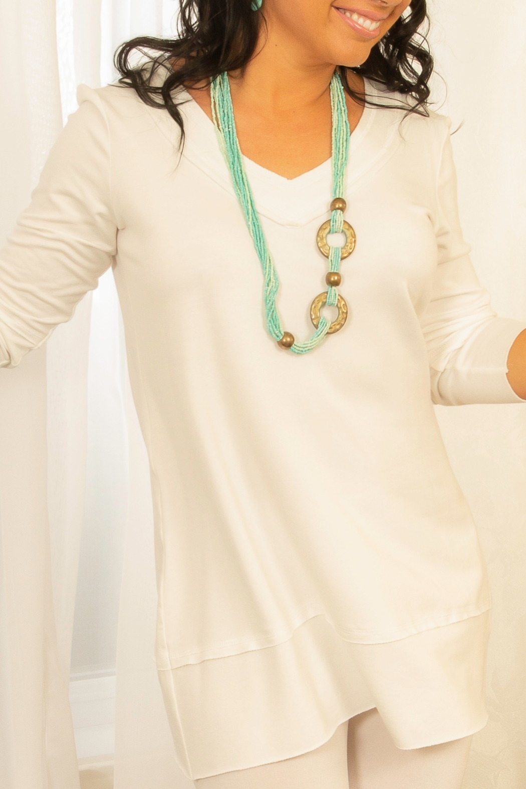 Pure Essence Bamboo Cotton Tunic - Front Cropped Image