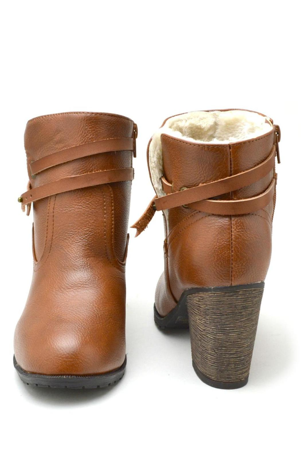 Bamboo Fur-Lined Belted Booties - Back Cropped Image