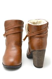 Bamboo Fur-Lined Belted Booties - Back cropped