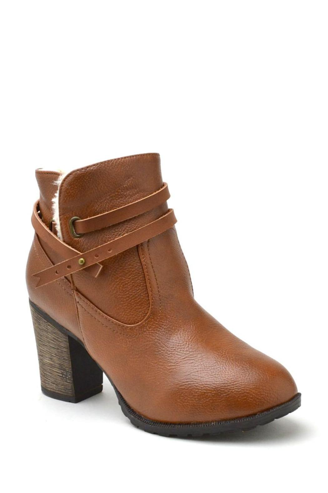 Bamboo Fur-Lined Belted Booties - Front Full Image