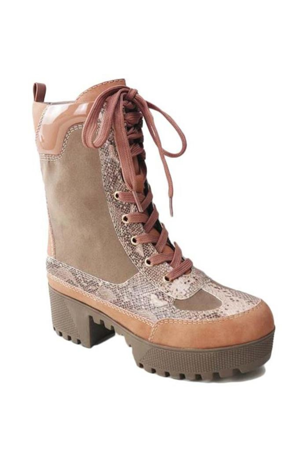 Bamboo Log-Sole Combat Boot - Front Cropped Image