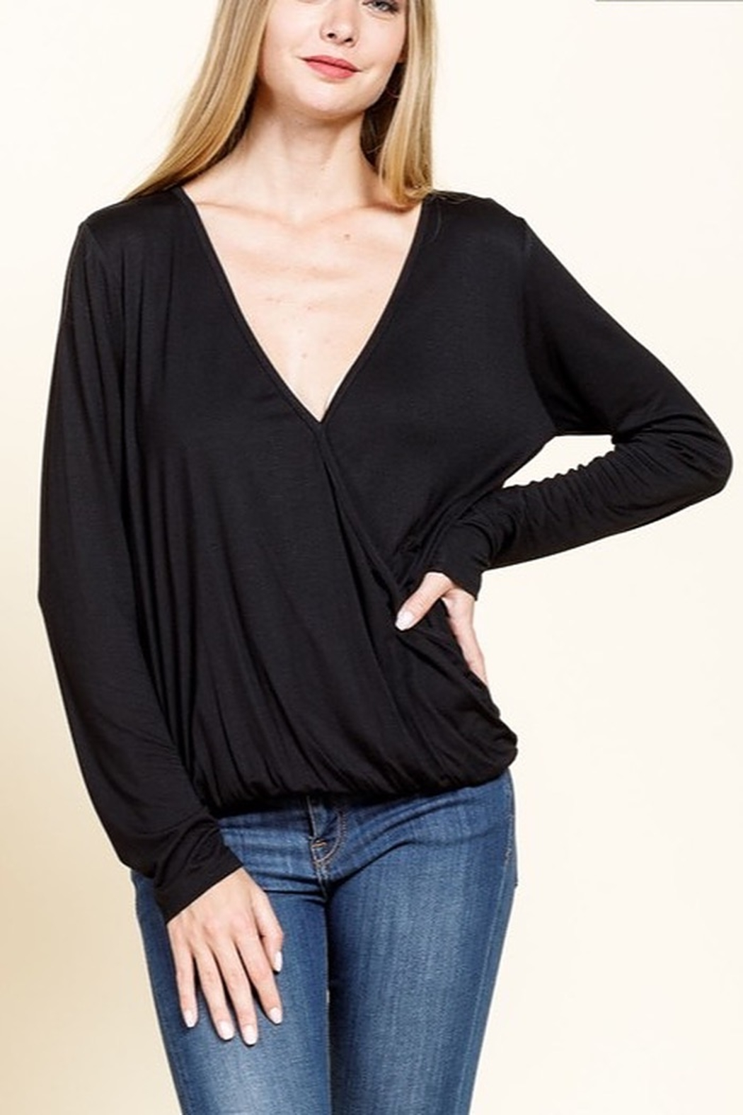 Mittoshop Bamboo Long Sleeve Surplice Top - Front Cropped Image