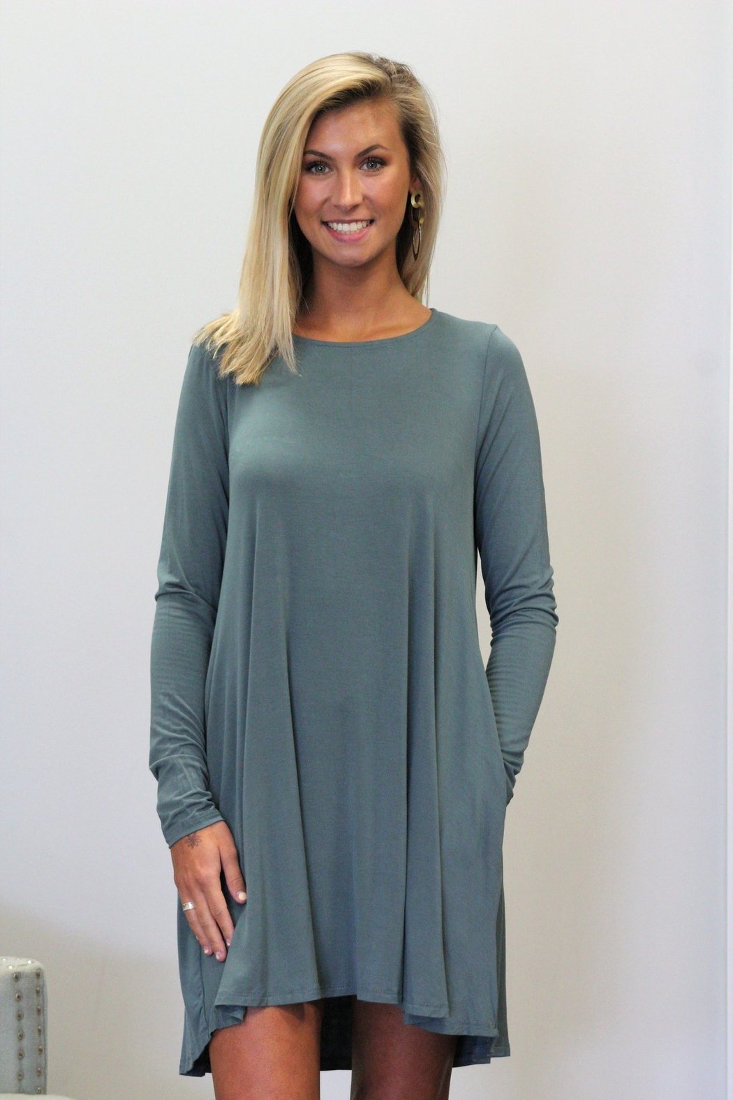 Mittoshop Bamboo Long Sleeved Pocket Dress - Front Full Image