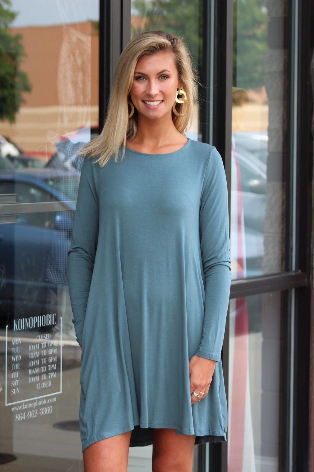 Mittoshop Bamboo Long Sleeved Pocket Dress - Front Cropped Image