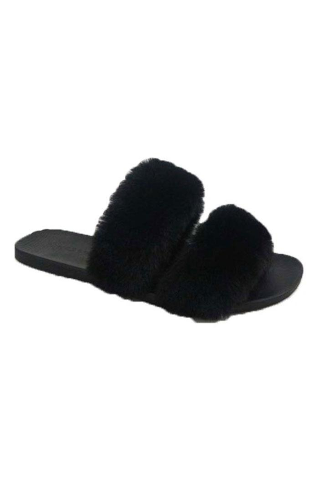 Bamboo Open-Toe Fuzzy Slippers - Main Image