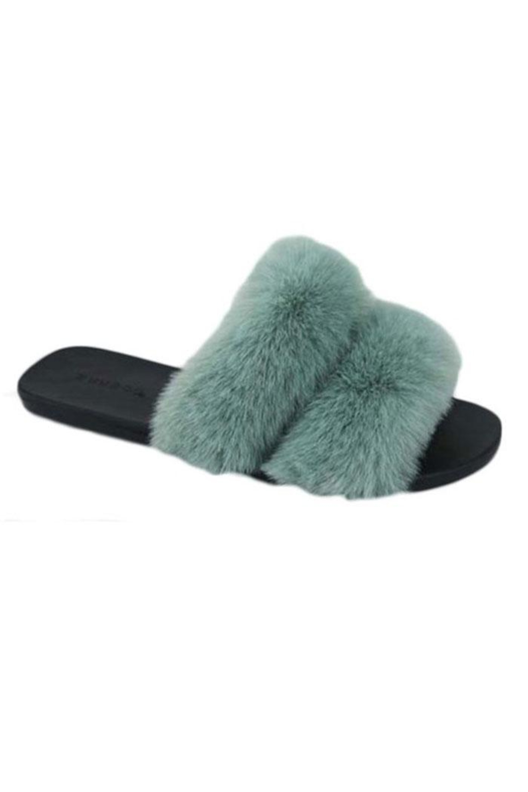 Bamboo Open-Toe Fuzzy Slippers - Front Cropped Image