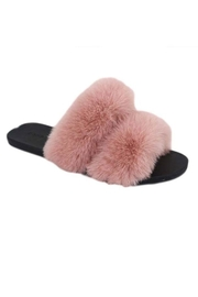 Bamboo Open-Toe Fuzzy Slippers - Front cropped