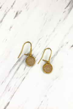 Nina Nguyen Designs Bamboo-Petal Gold Earrings, Stone: Sand Druzy - Product List Image