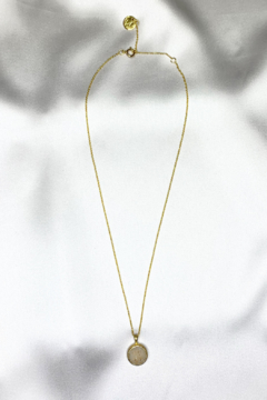 Nina Nguyen Designs Bamboo-Petal Gold Necklace, Stone: Sand Druzy - Product List Image