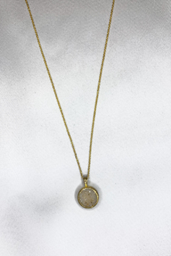 Nina Nguyen Designs Bamboo-Petal Gold Necklace, Stone: Sand Druzy - Alternate List Image