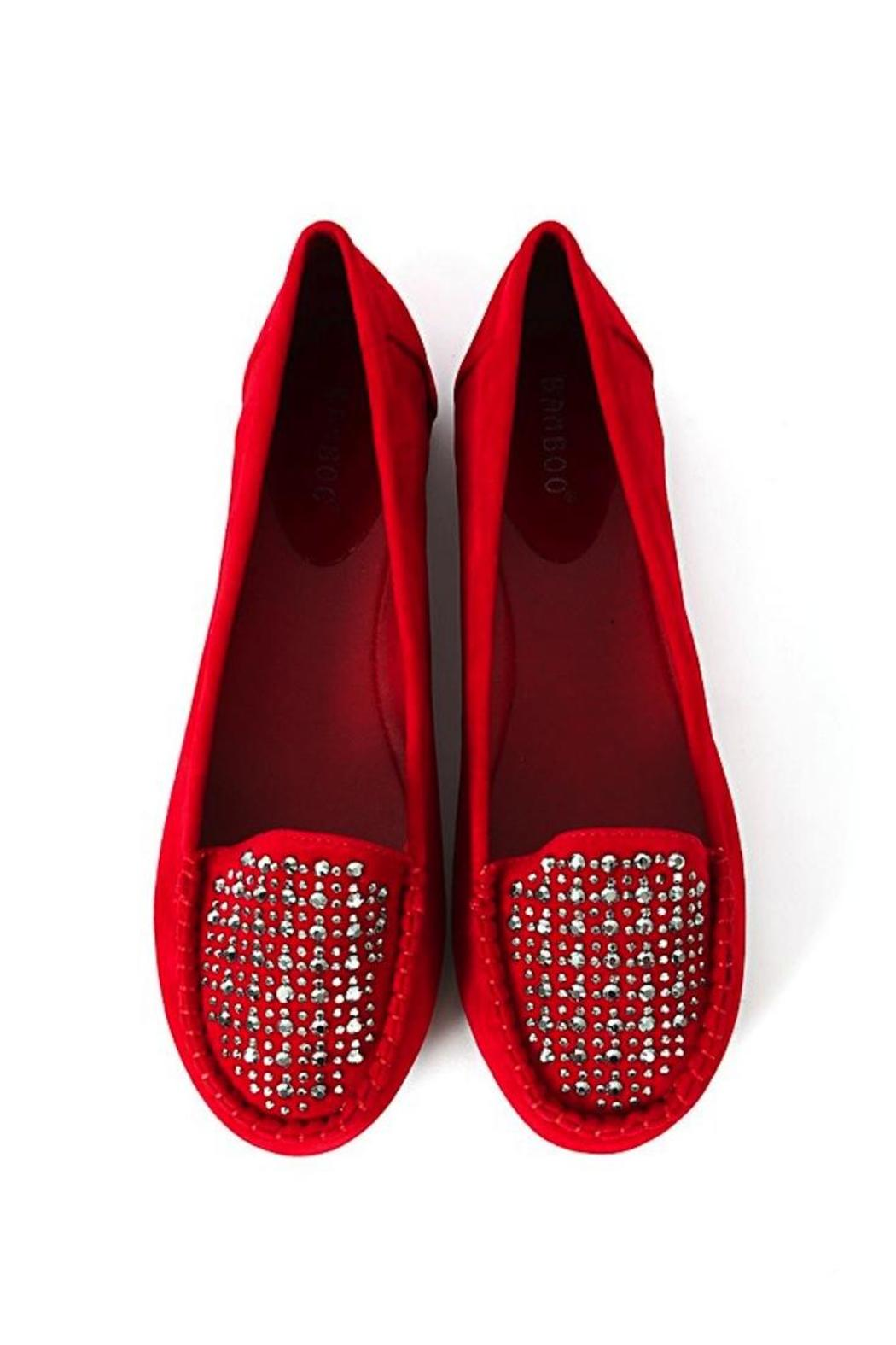 Bamboo Rhinestone Moccasin Loafers - Side Cropped Image