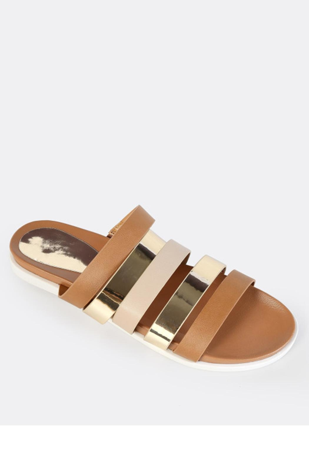 Bamboo Strappy Metallic Slide - Front Cropped Image