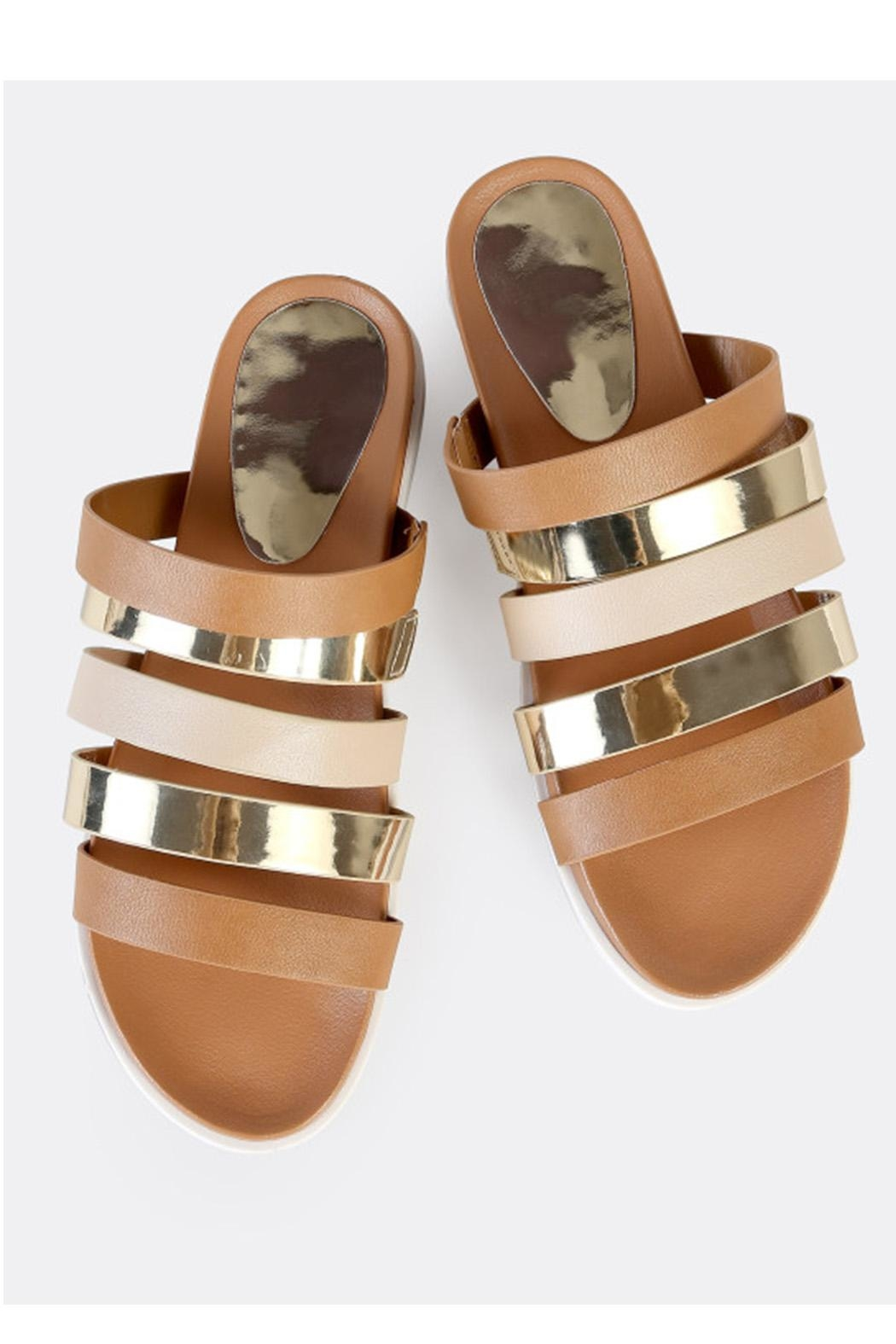 Bamboo Strappy Metallic Slide - Front Full Image