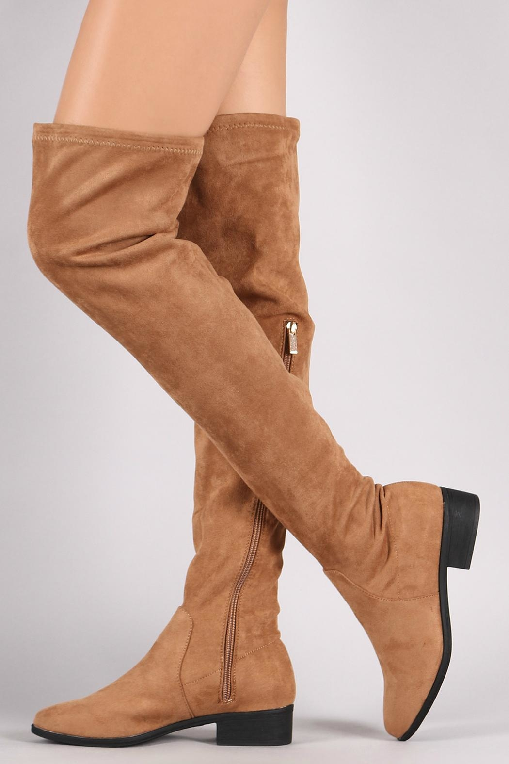 Bamboo Tan Over-The-Knee Boots - Front Full Image