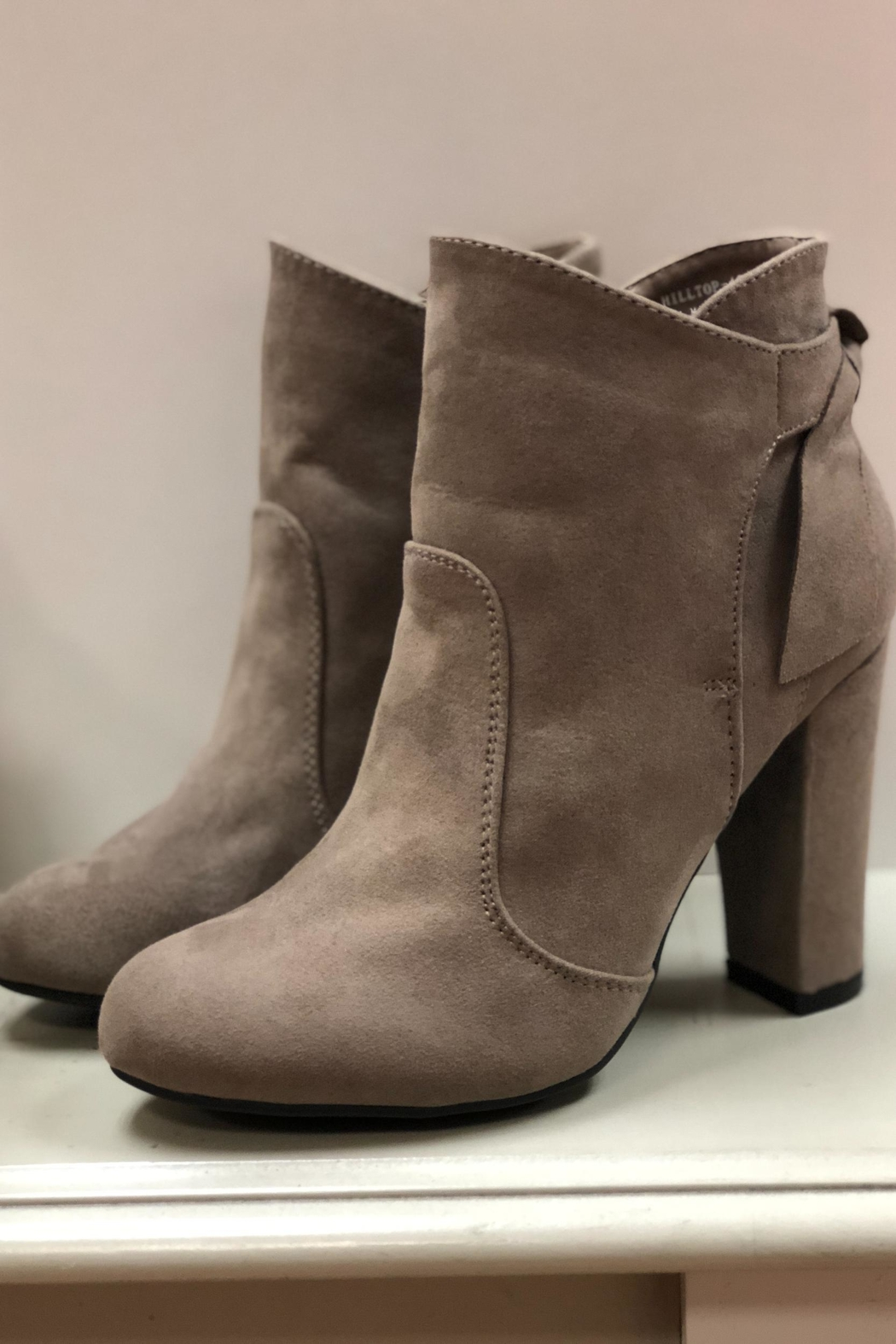 Bamboo Taupe Ankle Booties - Back Cropped Image