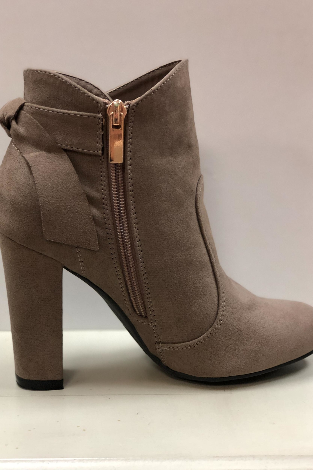 Bamboo Taupe Ankle Booties - Side Cropped Image
