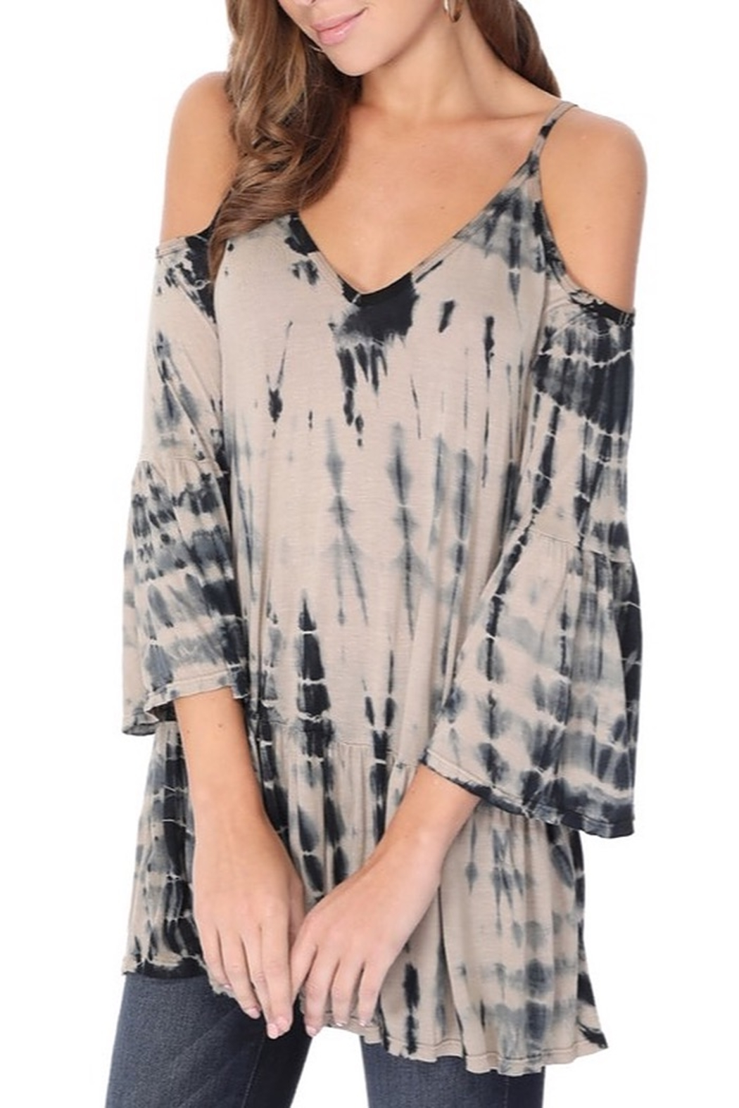 Tparty Bamboo Tie Dye Flowy Cold Shoulder Top - Front Full Image