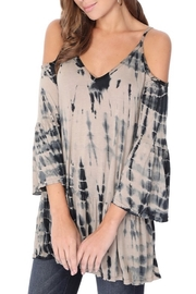 Tparty Bamboo Tie Dye Flowy Cold Shoulder Top - Front full body