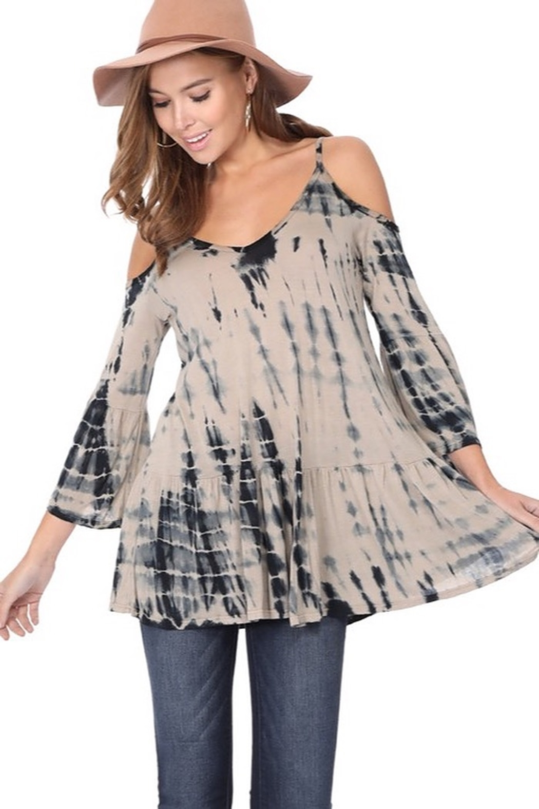 Tparty Bamboo Tie Dye Flowy Cold Shoulder Top - Main Image