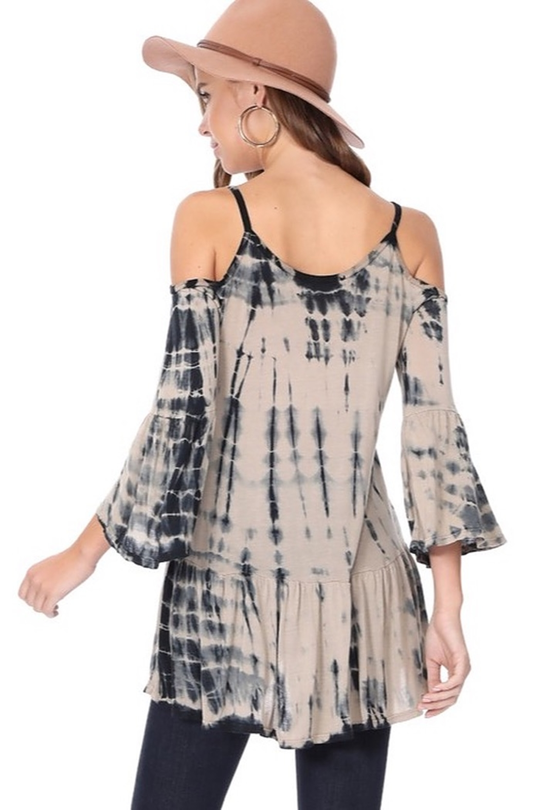 Tparty Bamboo Tie Dye Flowy Cold Shoulder Top - Side Cropped Image