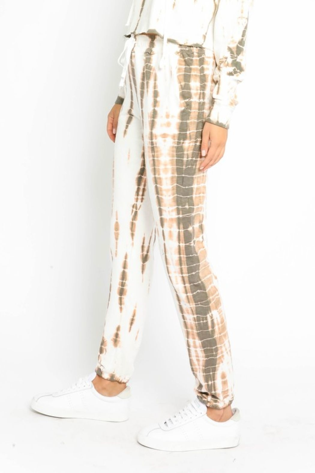Olivaceous  Bamboo Tie Dye Joggers - Side Cropped Image