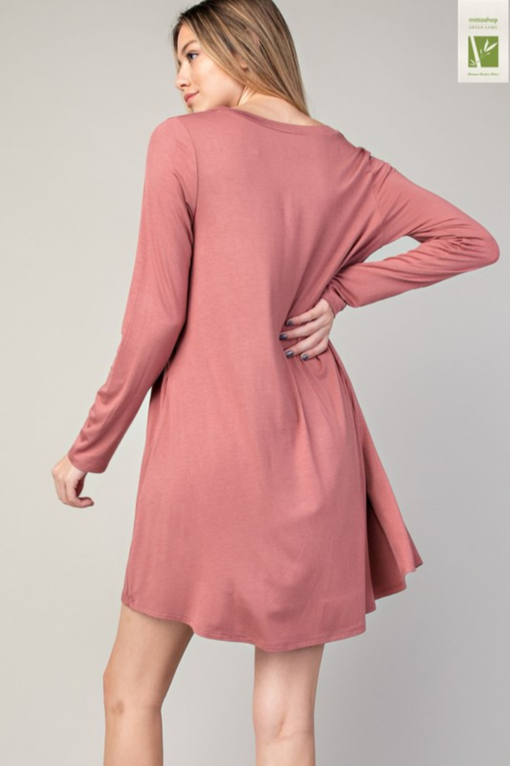 Mittoshop Bamboo V-Neck Dress With Pockets - Front Full Image