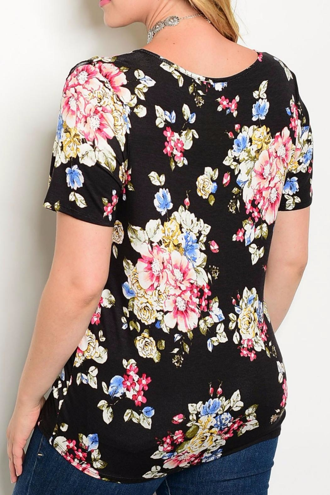 Banabee Black Floral Tee - Front Full Image