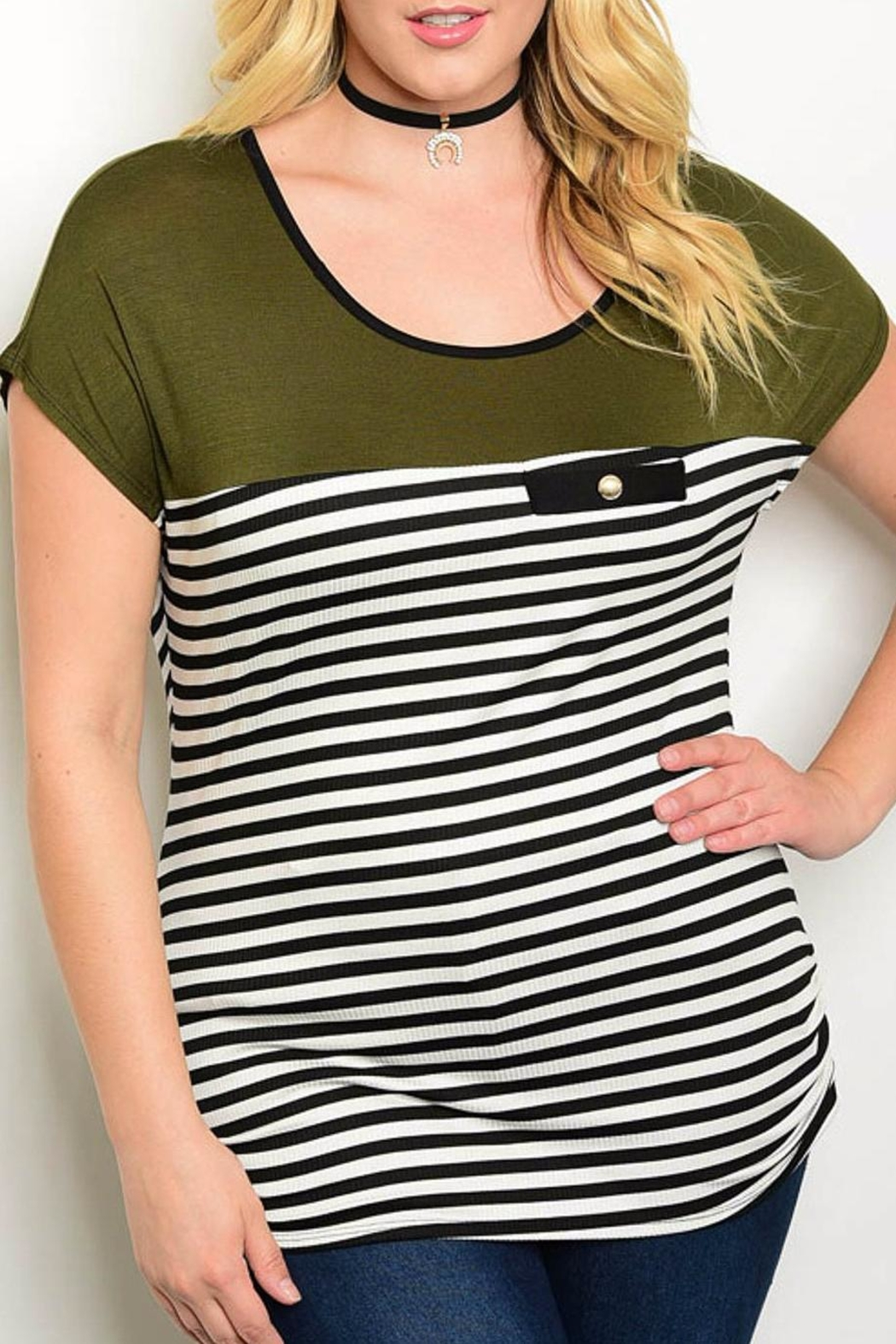 Banabee Olive Stripe Tee - Front Cropped Image