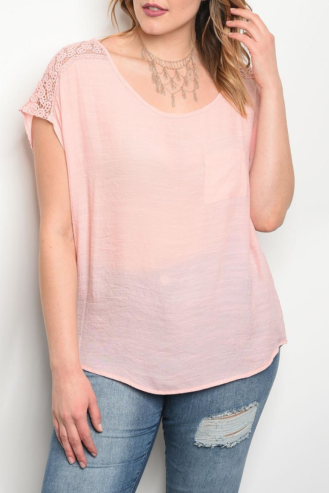 Banabee Peach Lace Top - Front Cropped Image