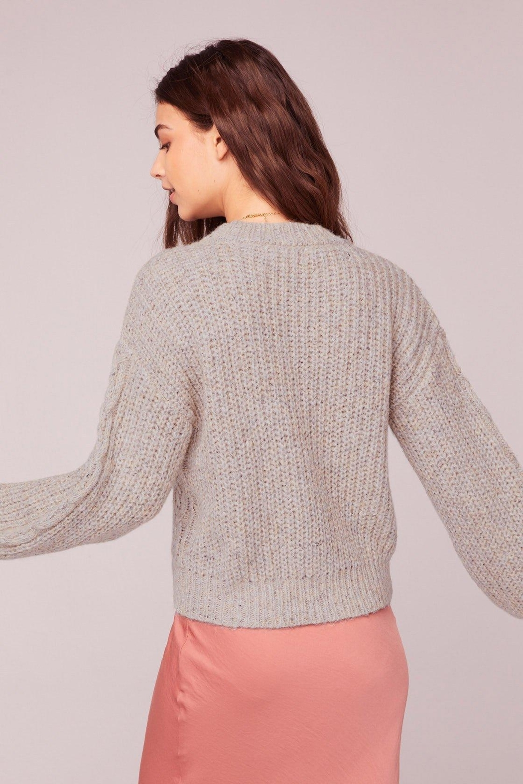 Band Of Gypsies Cable Knit Sweater - Back Cropped Image