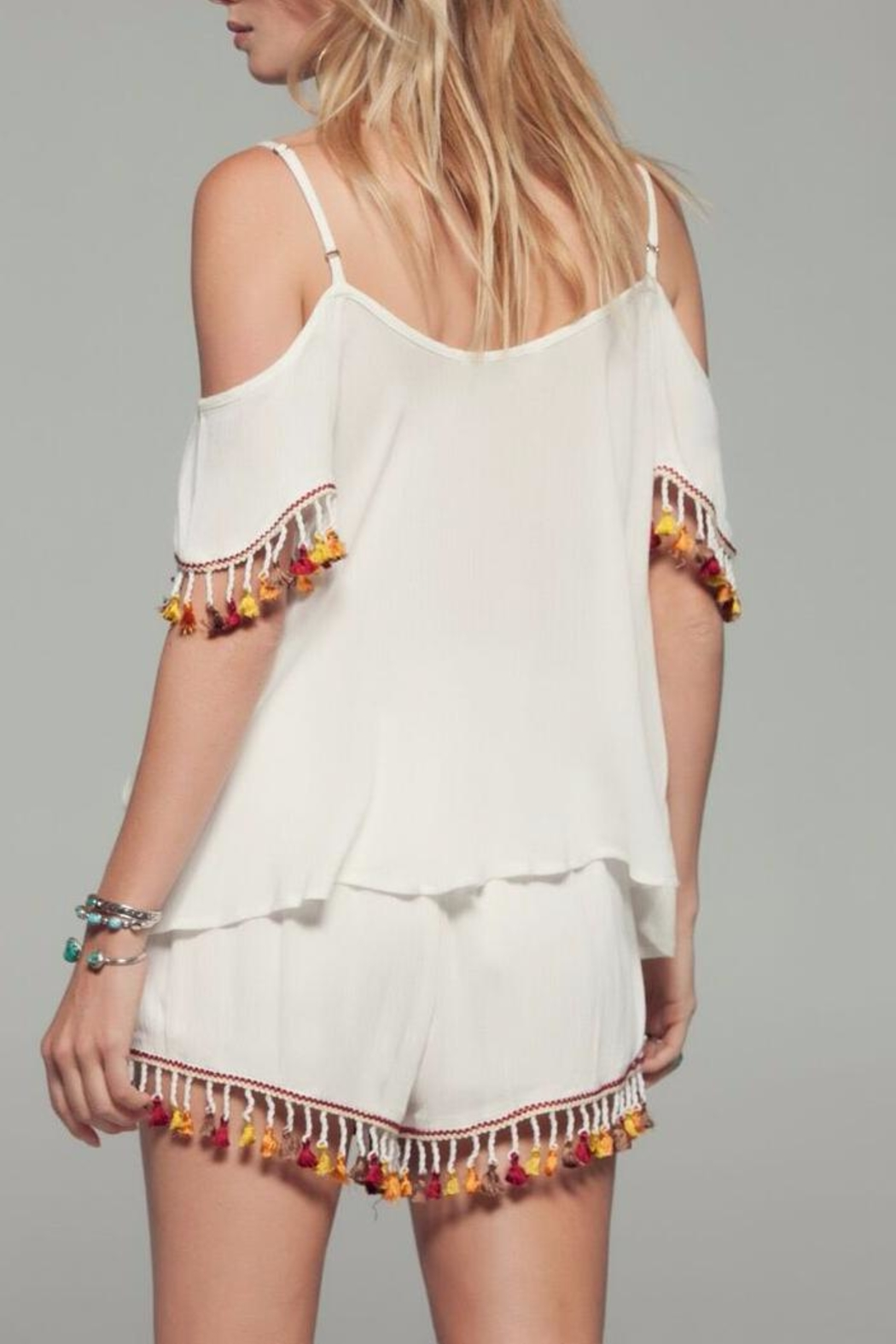 Band Of Gypsies Tassel Cold Shoulder Top - Front Full Image