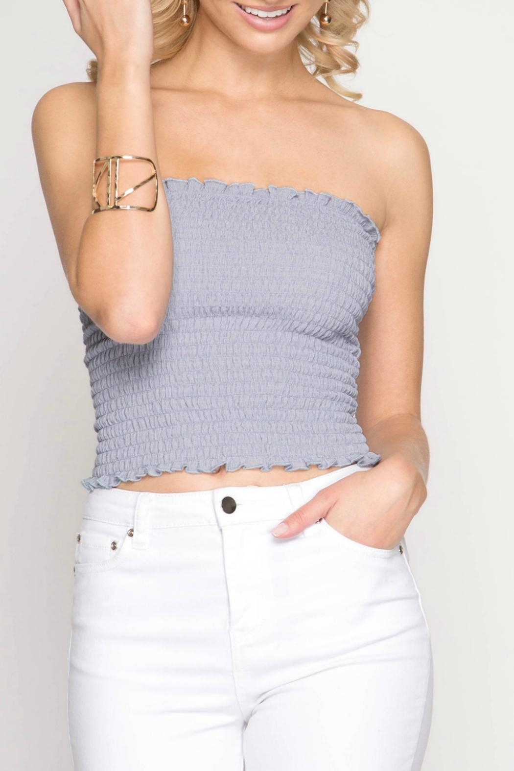 She + Sky Bandeau Tube Top - Front Cropped Image