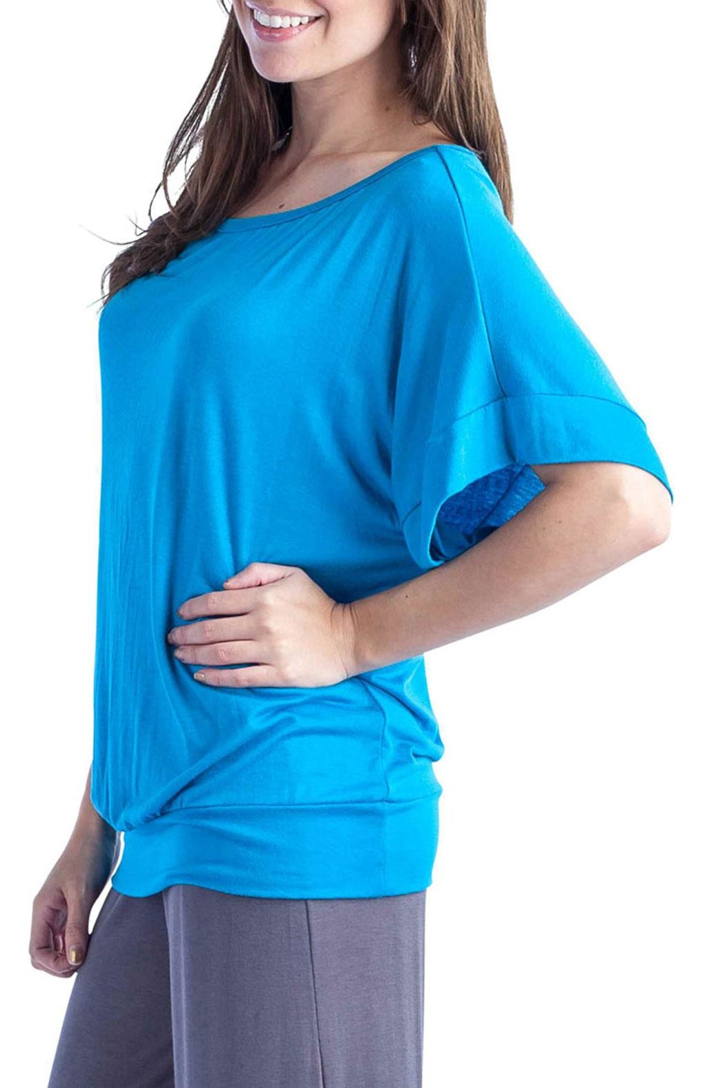 24/7 Comfort Apparel Banded Dolman Top - Front Full Image
