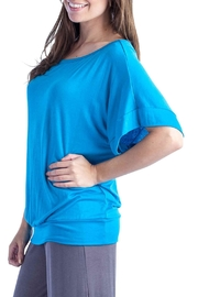 24/7 Comfort Apparel Banded Dolman Top - Front full body