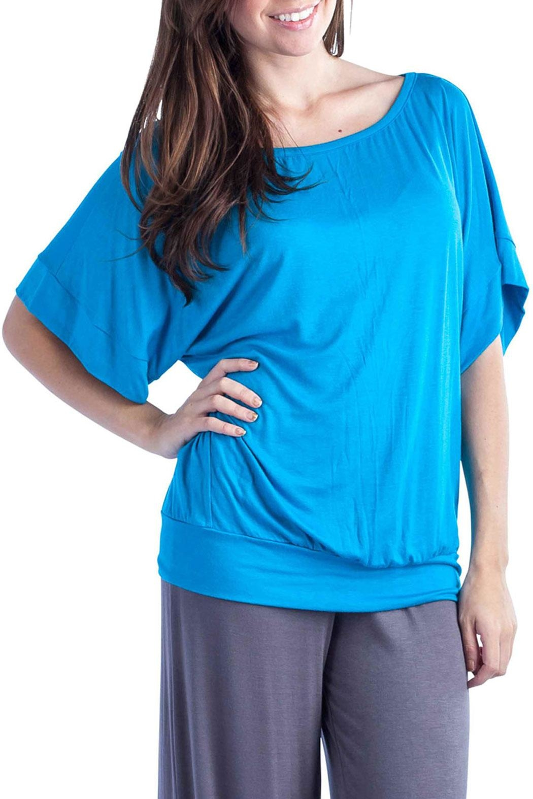 24/7 Comfort Apparel Banded Dolman Top - Front Cropped Image