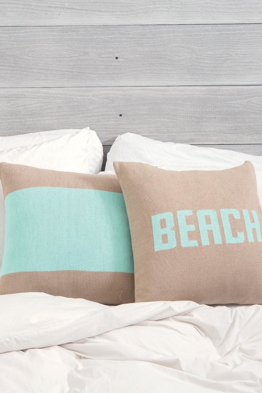 Wooden Ships Banded Knit Pillow - Front Full Image
