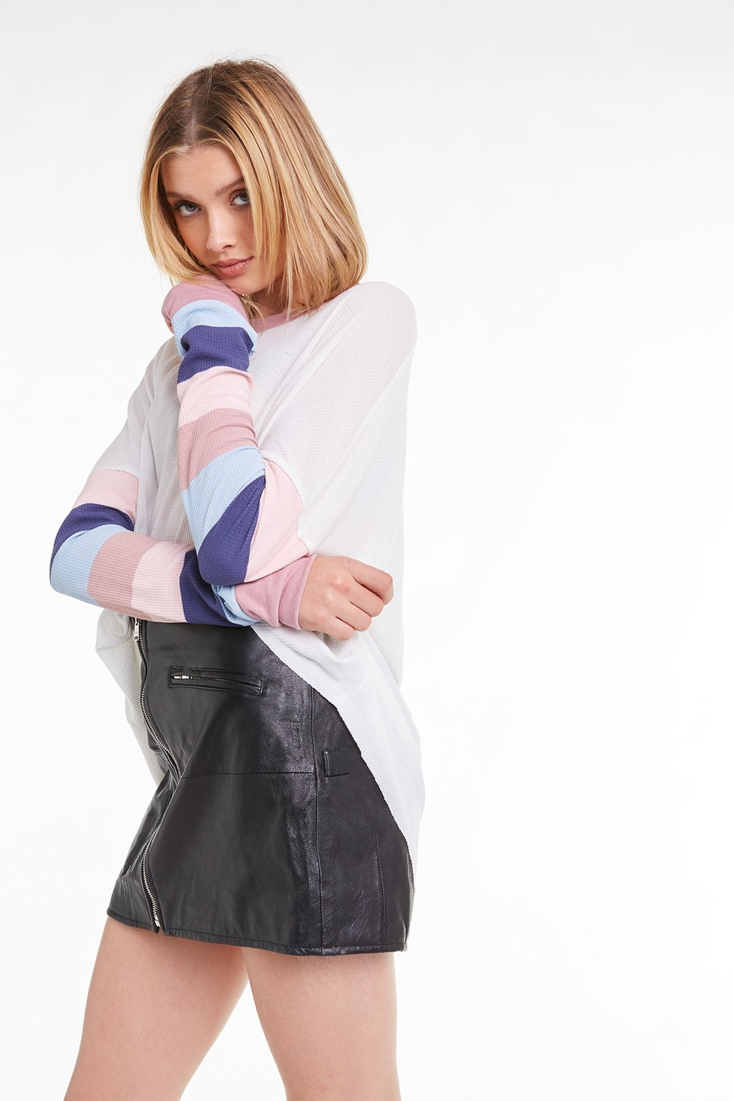 Wildfox Banded Sleeve Perry Thermal - Back Cropped Image