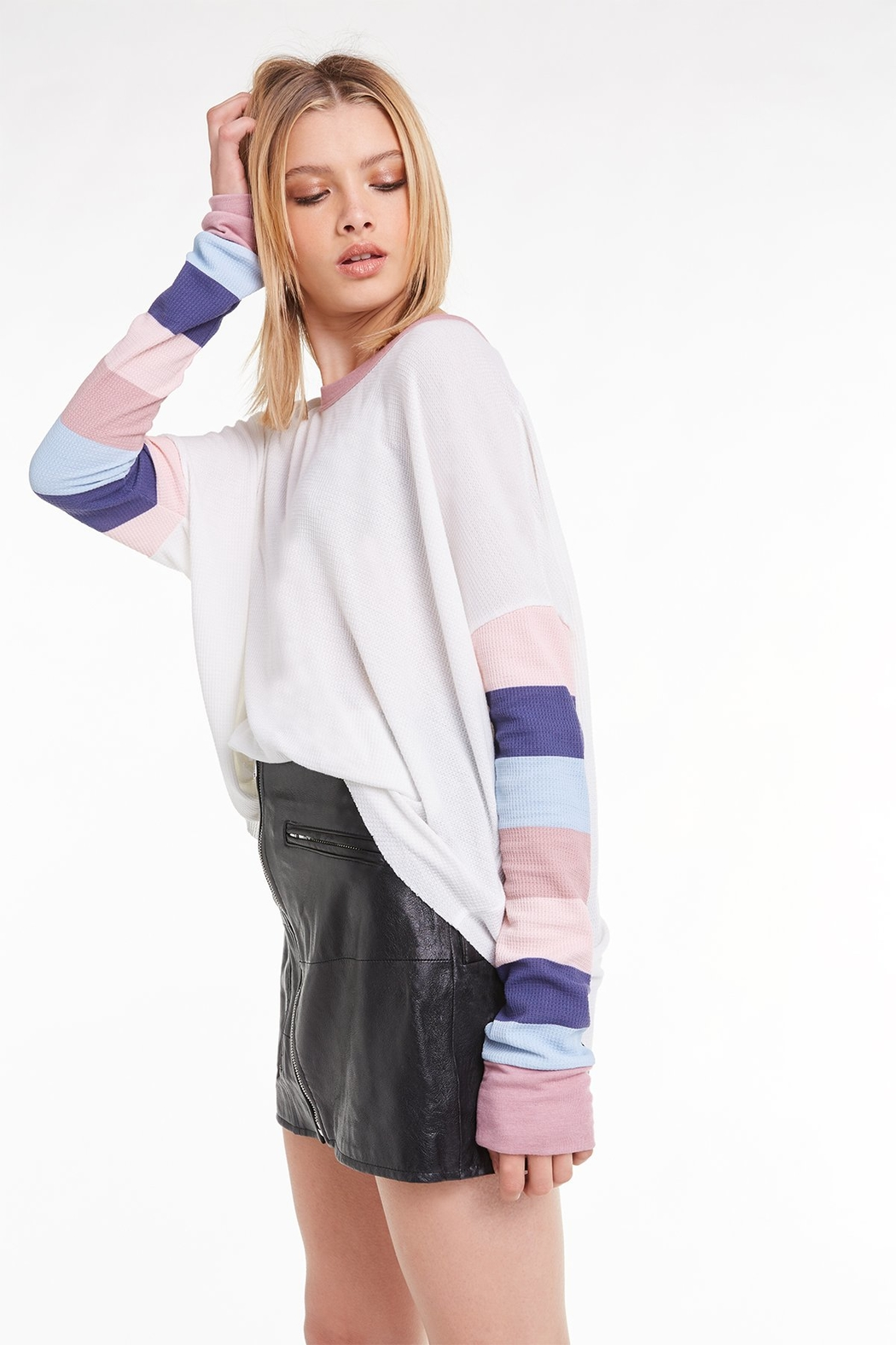 Wildfox Banded Sleeve Perry Thermal - Front Full Image