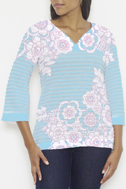 Whimsy Rose Banded Tunic - Free Floral Aqua - Product Mini Image