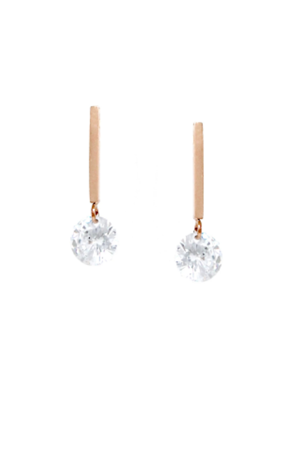 US Jewelry House Bar CZ Earrings - Front Cropped Image
