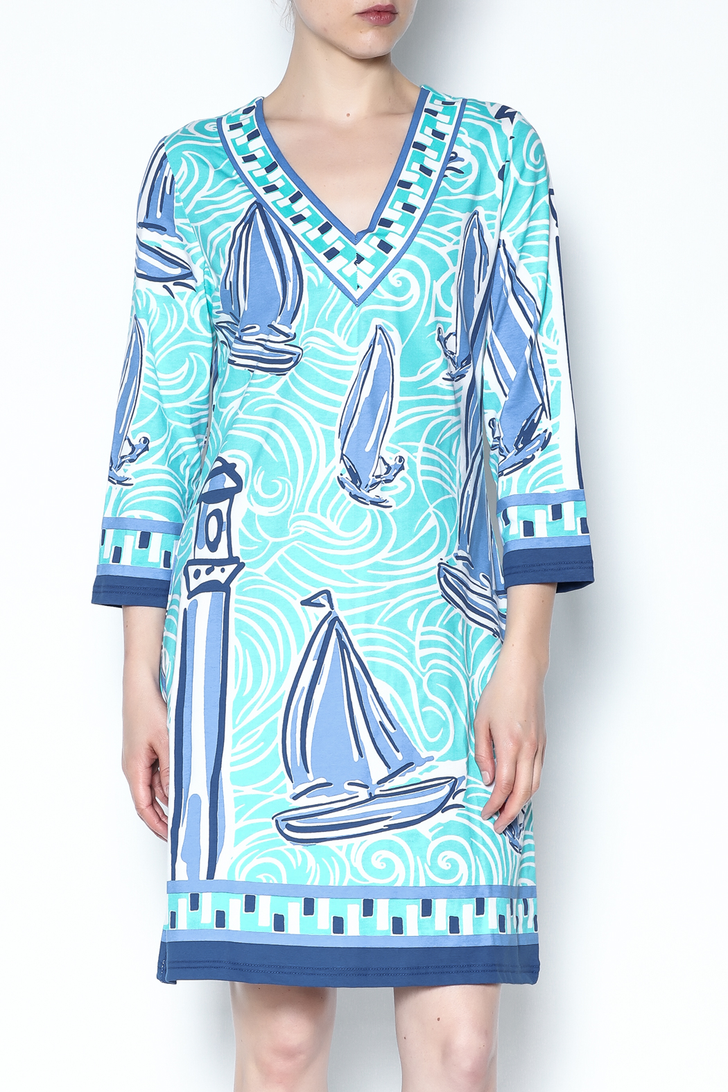 Barbara Gerwit Blue Boat Tunic Dress - Main Image