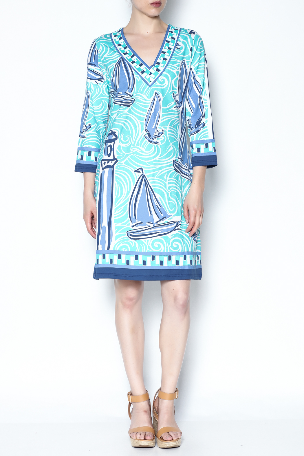 Barbara Gerwit Blue Boat Tunic Dress - Front Full Image