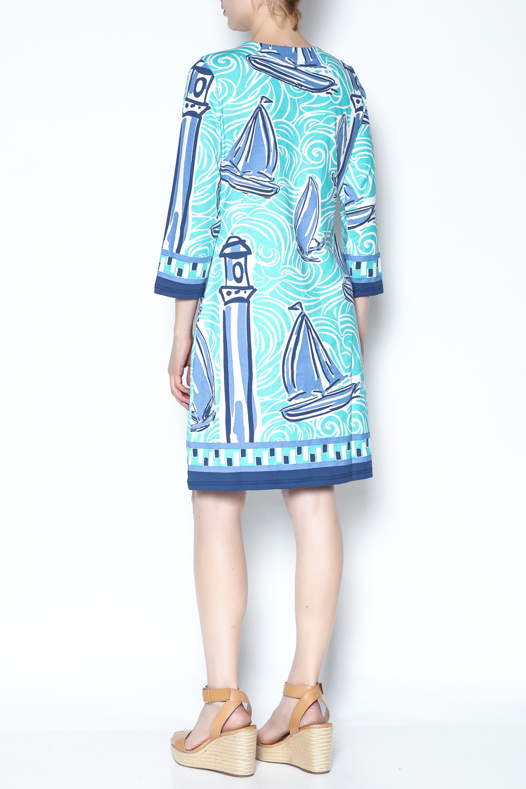 Barbara Gerwit Blue Boat Tunic Dress - Back Cropped Image