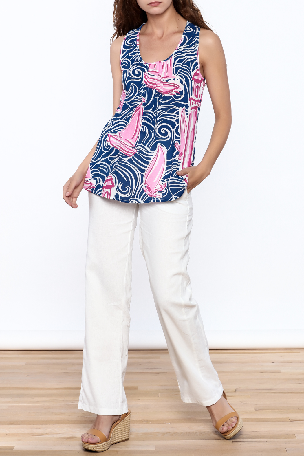 Barbara Gerwit Pleated Jacquard Top - Side Cropped Image