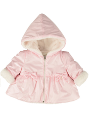 Barcellino Pink Hooded Zipper Fur Jacket For Girls | Winterwear Coat - Product Mini Image