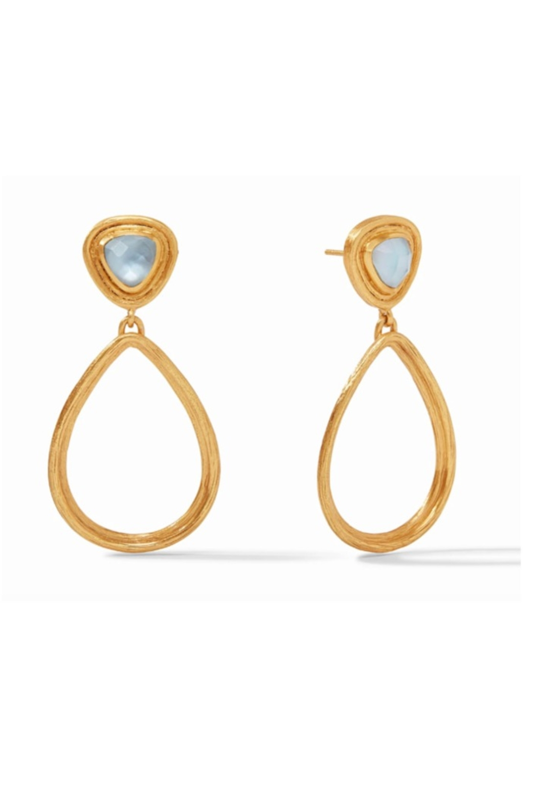 Julie Vos Barcelona Statement Earring Gold Iridescent Chalcedony Blue - Main Image