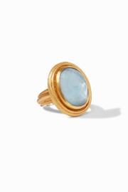 Julie Vos Barcelona Statement Ring Gold Iridescent Chalcedony Blue Size 7 - Product Mini Image