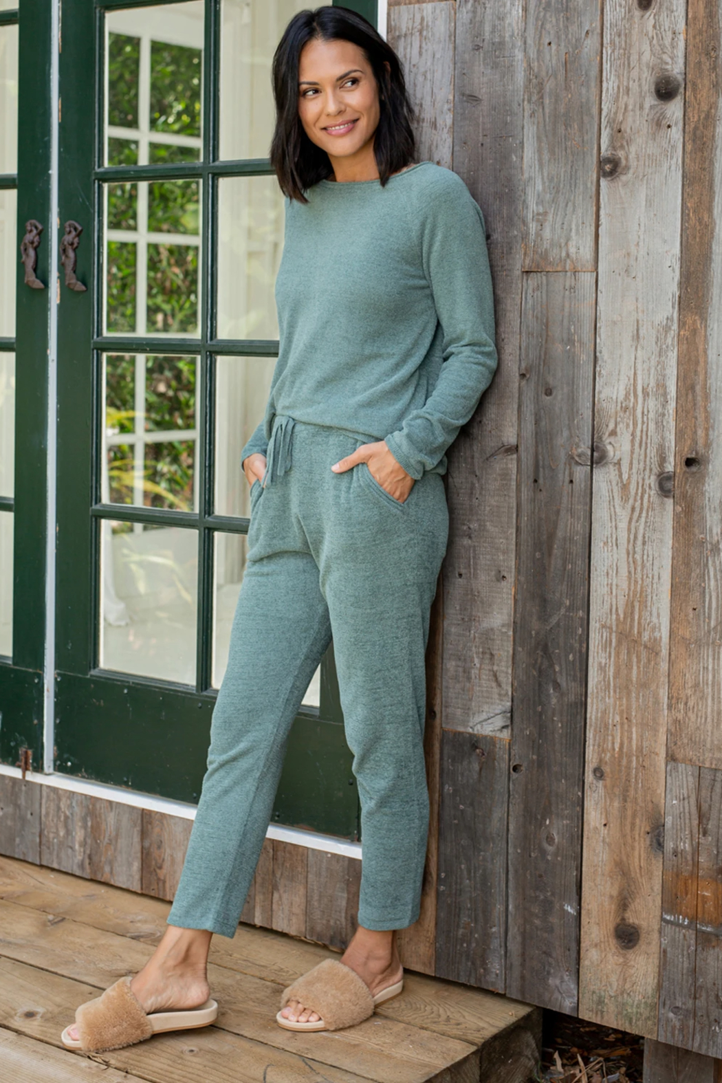 Barefoot Dreams Cozychic Ultra Lite Everyday Pants - Back Cropped Image